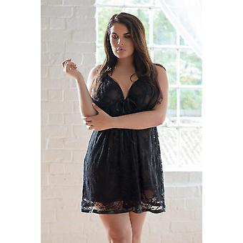Black Double Layer Lace Babydoll With Thong Sizes 26-28, 30-32