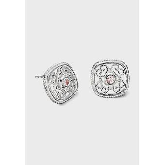 Kalevala Earrings Women's Pink Ribbon Jewelry Silver Zirconia 2607555ZIVPT