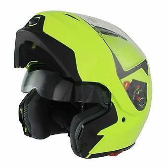GSB G-339 Flip Up Motorcycle Helmet Yellow Plain Gloss Integrated Sun Visor