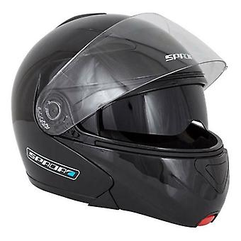 Spada Avsløre Flip Up Motorsykkel hjelm svart integrert solskjermen