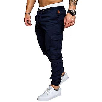 nye mannlige bukser menns solid multi-pocket cargo bukser skinny fit sweatpants
