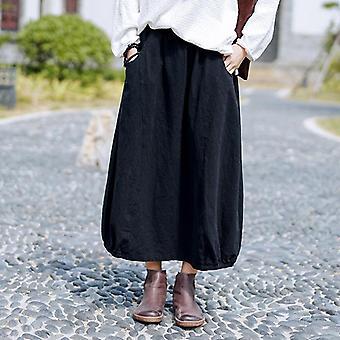 חדש פשוט רטרו כיסים כל התאמה נשים פרח באד חצי חצאית סתיו רופף