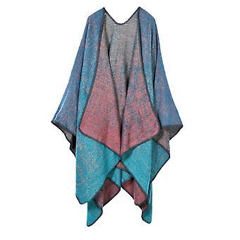 Ladies Autumn And Winter Plus Size Blue Warm Scarf Blanket Shawl