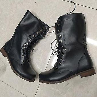 Leather Plus Size Knight  & Lace Up Ankle / Brithsh Motorcycle Boots