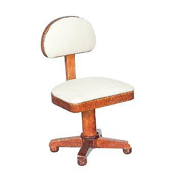 Panenky Dům Miniaturní 1:12 Dřevěná studie kancelářský nábytek ořech krém stolní židle