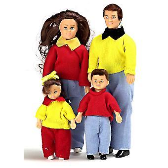 בובות בית מיניאטורי 1:12 סולם מודרני משפחה של 4 אנשים אמא אבא ילדים