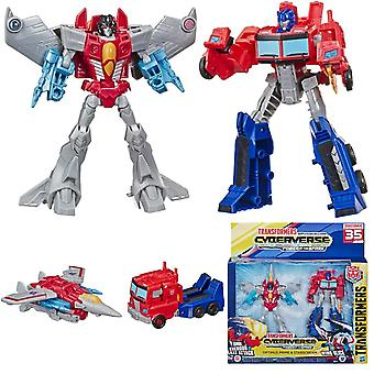 2-Pack Transformers Warrior Class Cyberverse Optimus Prime y Starscream
