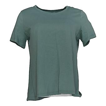 LOGO Par Lori Goldstein Women's Top Knit W/ Short Sleeves Green A342991