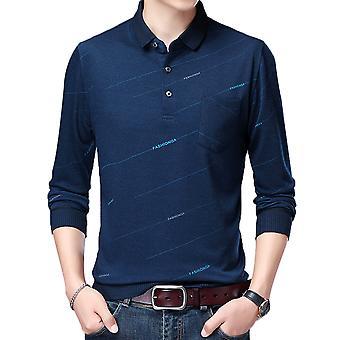 YANGFAN Men's POLO Collar Printed Long Sleeve T-Shirt
