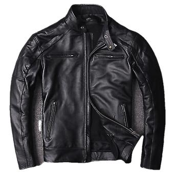Classic moto mens straight cow leather jacket