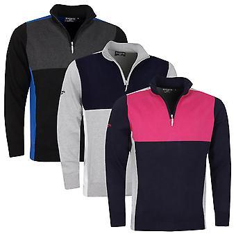 Glenmuir Mens 2021 Garrion Cotton Colour Block Lightweight 1/4 Zip Golf Sweater