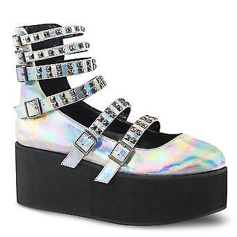 Demonia Frauen's Schuhe GRIP-31 Slv Hologramm Vegan Leder
