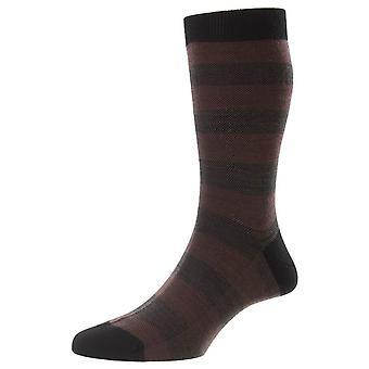 Pantherella Bexley Birdseye Stripe Merino Wool Socks - Black
