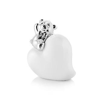 Tischdekoration Bär weiße Farbe in Porzellan, Silber, L7.2xP4xA10 cm