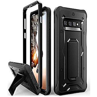 Samsung Galaxy S10 Plus Case (2019 Sürümü) için Tasarlanan ArmadilloTek Vanguard, Dahili Ekran Koruyucusu Olmadan Kickstand (Siyah) ile Sağlam Askeri Sınıf Tam Gövde