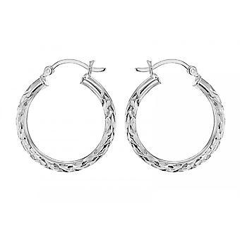 Evighed sterling sølv 24mm diamant cut hoop øreringe