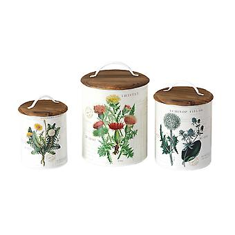 Set of 3 Wooden Top Botanical Design Metal Kitchen Canisters