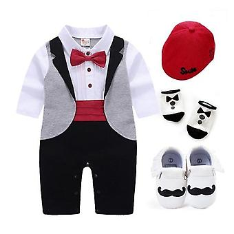 New Born Baby Tuxedo Sets Rompers Clothing For Party Clothes Dress Cotton Long