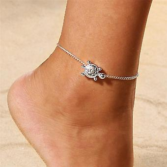 Crystal Beads Ankle Bracelet Leg Chain Round Hollow Flower Vintage Foot Jewelry