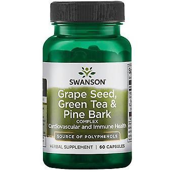 Swanson Thé vert de pépins de raisin et complexe d'écorce de pin 60 Capsules,