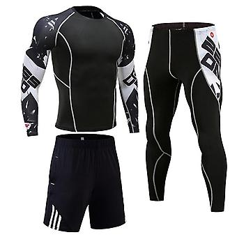 Shirt Men Compression Pants, Tracksuit Leggings Sports Fitness Workout Set