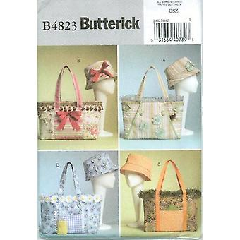 Butterick Syning Mønster 4823 Misser Håndtasker Tasker Tasker Tilbehør One Size