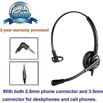 HanFei 2,5mm Telefon Headset mit Noise Cancelling Mikrofon CallCenter Headset Festnetztelefone