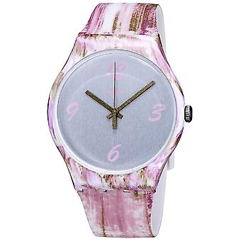 Swatch PINKQUARELLE Siliconen Dames Horloge SUOW151