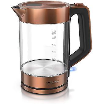 Wokex - Glas Wasserkocher Edelstahl - 1,7 Liter - 2200W - Cool Touch Griff - One Touch Verschluss -