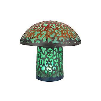 Teal Blue Mushroom Metal Art Filigree LED Lighted Solar Garden Statue