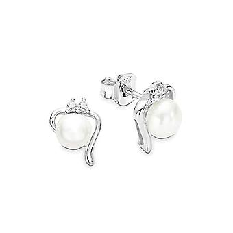 Amor 925 sølv Perler dyrket av fersk hvit Zirconia kubikk FINEEARRING