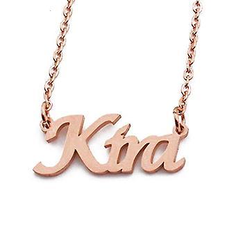 KL Kigu Kira - Naisten kaulakoru nimellä, ruusukulta, nimi, muodikas, lahja tyttöystävälle, äidille, siskolle
