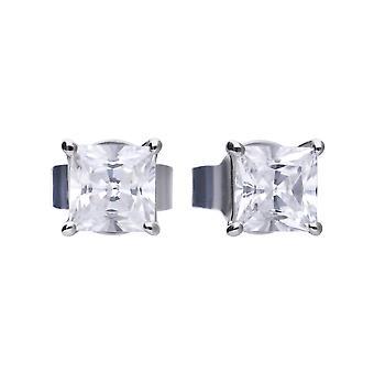 Diamonfire Womens 925 Sterling Silver Rhodium, Palladium &Platinum Plated Clear Cubic Zirconia Claw Set Square Stud Pendientes