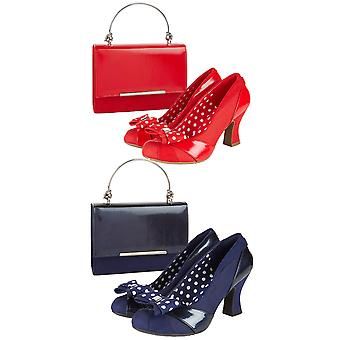 Ruby Shoo Tatum Navy Court Shoe with Removable Spotty Bow & Mayching Pasadena Bag