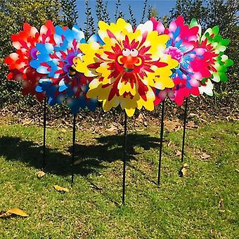 Wind Spinner, drei Schichten Sonnenblume, Outdoor-Garten-Dekoration, Windmühle,
