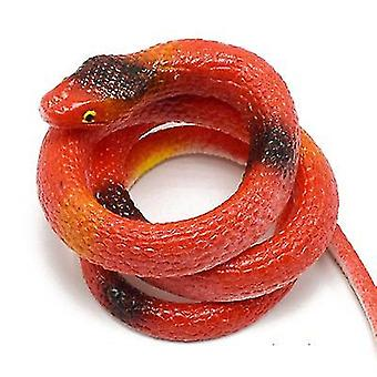 Red realistic rubber fake snake toy for garden props and practical joke x3929