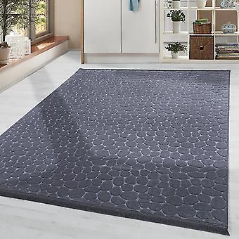 Design soggiorno tappeto lavabile antiscivolo motivo pavimento in pietra antracite