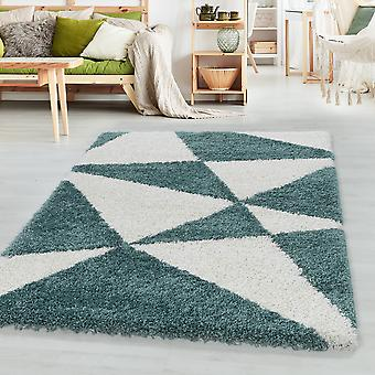 Sala de estar Carpet MANGO High Pile Design Pattern Triángulos abstractos