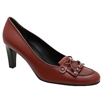 Kennel Und Schmenger Red Leather Round Toe Low Heel Court Shoe With Frill Detail