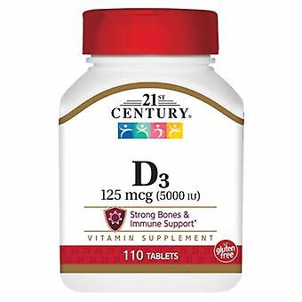 القرن الحادي والعشرين فيتامين D3، 125mcg، 5000IU 110 علامات التبويب