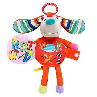 Dog Rattling Doll Cute Baby Hanging Toys With Sound Paper For Children Soft Plush Rattle Toys Red