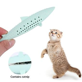 Cat chewing shark funny cat stick mint clean teeth molar stick silicone fish toy
