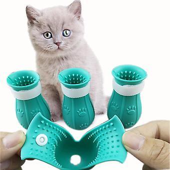 Katze Fußabdeckung Haustier Anti-Kratzer und Biss Silikon Abdeckung Anti-Kratzer Katzenschuhe Haustier Bad Pfote Abdeckung Katzenbedarf