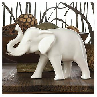 Accent Plus White Ceramic Elephant - 4.75 inches, Pack of 1