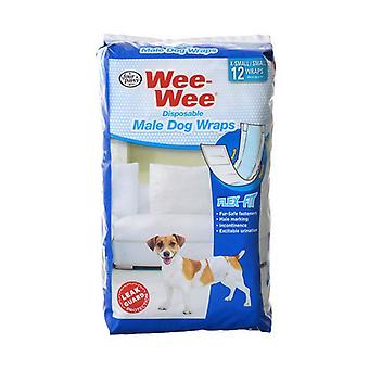 """Four Paws Wee Wee Disposable Male Dog Wraps - X-Small/Small - 12 Pack - (Fits Waists up to 15"""")"""