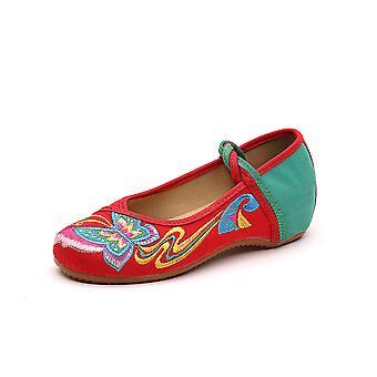 Women's Chinese Retro Ethnic Embroidery Low Heel Flat Elevator Cheongsam Dress Shoes Phoenix Tail Butterfly