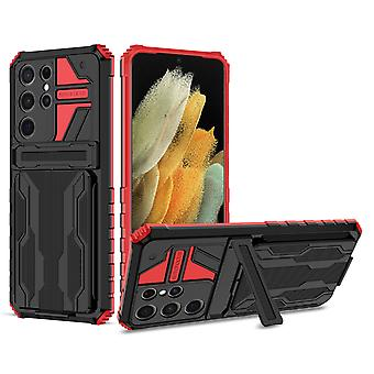 Case For Samsung Galaxy S21 Ultra Card Holder Coque Kickstand Hockproof Bumper Etui Handytasche - Red
