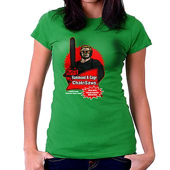 Hammond and Gage Chainsaws Buzzsaw Running Man Women's T-Shirt