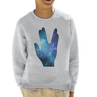 Star Trek Galaxy silhuett Vulcan salutt barneklubb Sweatshirt