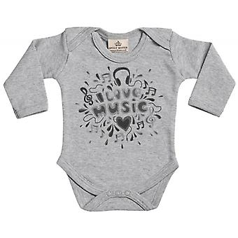 Spoilt Rotten I Love Music Baby Long Sleeve Organic Baby Grow
